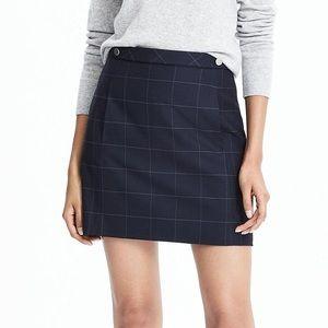 NWT Banana Republic Navy Windowpane Grid Skirt